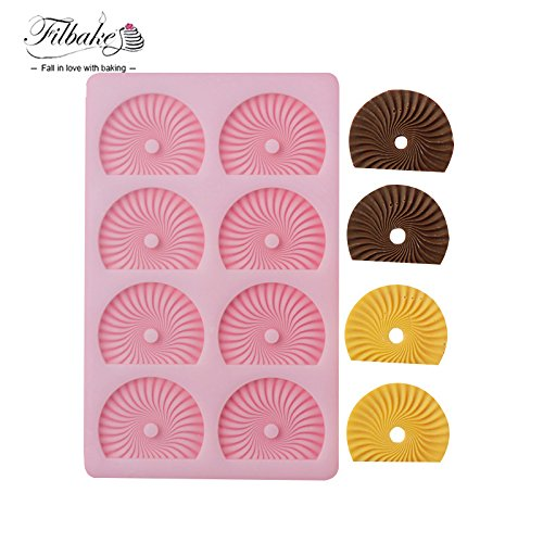 Star-Trade-Inc - Bakery Silicone Chocolate Mold 8Pcs Round Big Shovel Flower Fruit Cake Decoration Mold