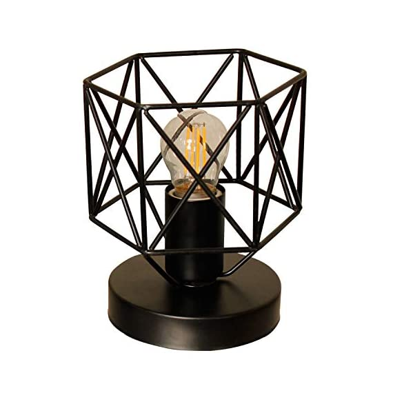"Magland Retro Industrial Table Lamps Metal Shade UL Certificated (Small) - Overall Size: 5.7"" in wide, 7"" in height ,In-line rotary switch wire about 5.9 foot,UL Certificated black metal shade and base Bulb Specification:1 X E26 X Max 60W,Bulb (Not Included) .for ambiance, Edison bulb be suggested Hand forged geometric shapes metal cage shade being displayed on a round base - lamps, bedroom-decor, bedroom - 51ymPo3k%2BdL. SS570  -"