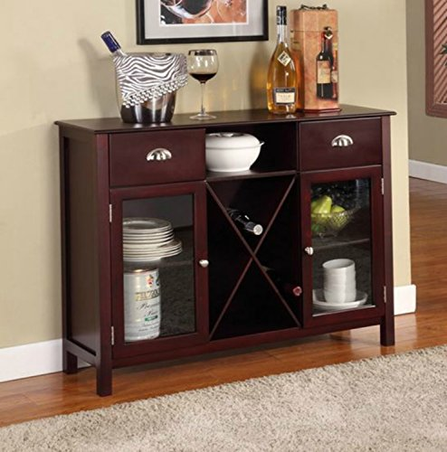 Andover Wood Buffet Server - This Accent Table Furniture Is a Storage Addition and Decor to Your Home - This Sideboard Has Drawers, Cabinets, and Adjustable Shelves - Satisfaction Guaranteed! ()