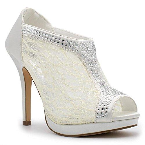 TRENDS SNJ Women's Lace Bridal High Heel Platform Peep Toe Shootie, TS Yael-9 Ivory Size 9