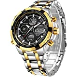 Tamlee Luxury Full Steel Analog Digital Watches Men Led Male Outdoor Sport Military Wristwatch Silver&Gold