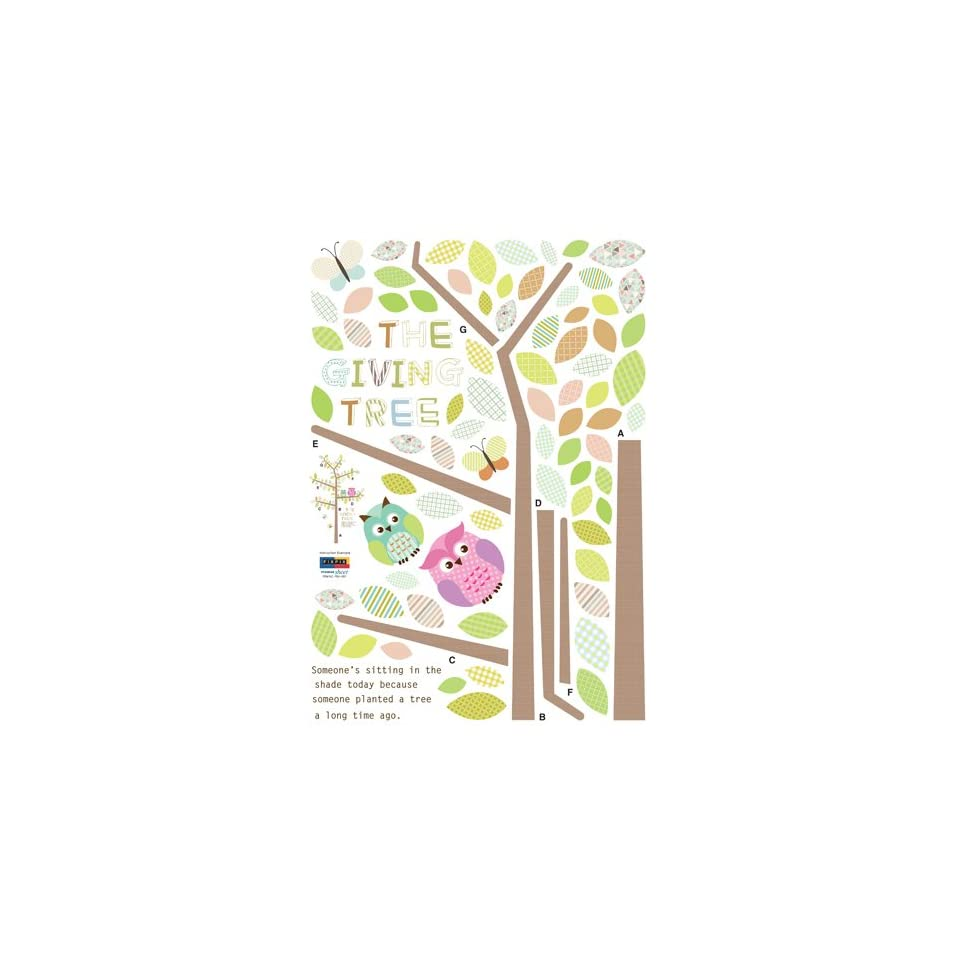 Easy Instant Home Decor Wall Sticker Decal   Owl Giving Tree Patterns Butterflies