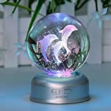 AXAYINC Dolphin 3D Crystal Ball LED Night Light with Base, Puzzle Dolphin Advanced Laser Engraving, Ideal Present for Kids, Friends, Perfect for Home, Offices, Bars Decor etc. - 70mm