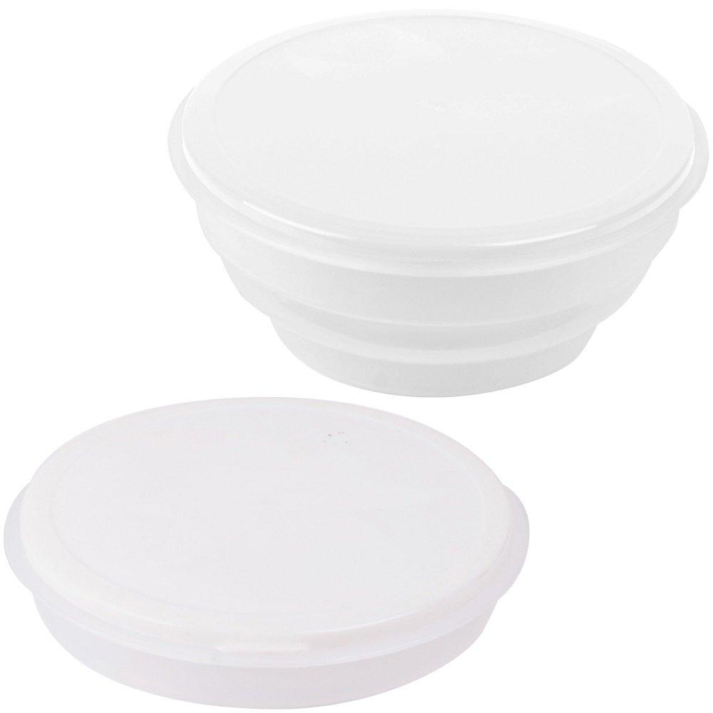 Promobo - Saladier Cuisine Boite Repas Pliable Lunch Box Design City Blanc 700Ml