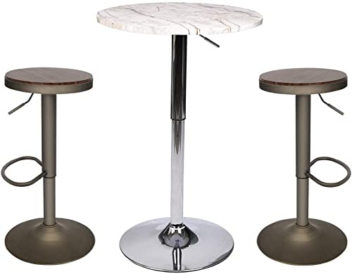 YOURLITE Par Table and Chair Sets 3 Pieces with Swivel Counter Wood Pub Stool Height Adjustable Barstools and Modern Round White Pub Table for Bistro Dining Kitchen