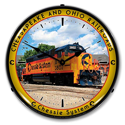 - Chessie System Cheasapeake and Ohio Railroads LED Wall Clock, Retro/Vintage, Lighted, 14 inch