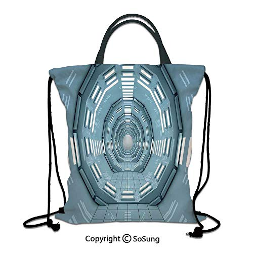 Outer Space Decor 3D Print Drawstring Bag String Backpack,Spaceship Earth Corridor Adventure to Cosmos Ufo Lands Architecture Walls,for Travel Gym School Beach Shopping,Blue ()