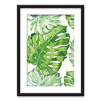 Framed Tropical Plant Leaves Black Picture Frames with...