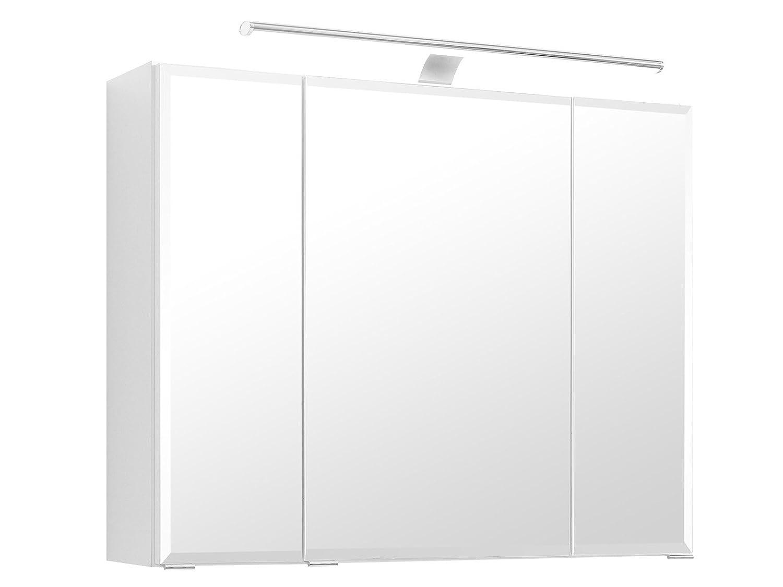 """3D-Spiegelschrank Badspiegel Badhängeschrank Spiegel /""""Delhi I/"""" weiß 60 cm"""