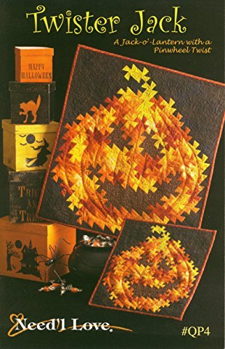 Twister Jack quilt pattern, a Jack-o-lantern with a pinwheel twist, Halloween wall hanging quilts]()