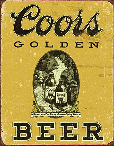 Small Vintage Beer - Desperate Enterprises COORS Golden Beer Vintage Tin Sign, 12.5