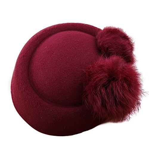 BAOBAO Wedding Women Girl Fluffy Rabbit Fur Ball Mini Top Hat Fascinator Hair Clip