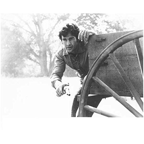 Lancer (TV Series 1968 -1970) 8 inch by 10 inch PHOTOGRAPH B&W Pic James Stacy from Waist Up w/Gun Behind Wagon kn