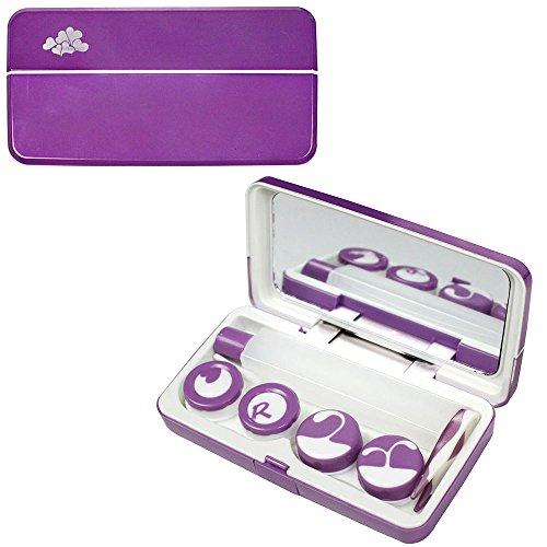 Kit de Voyage métallique Contact Lens avec Lens Case 2 et 1 Grand Kit bouteille de Lens (Violet)