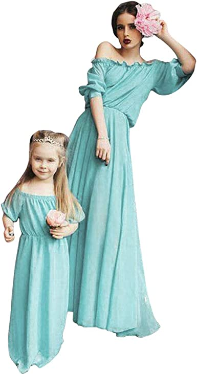Mother and Daughter Matching Party Slim Dress Mommy Me Family Clothes Outfit Set