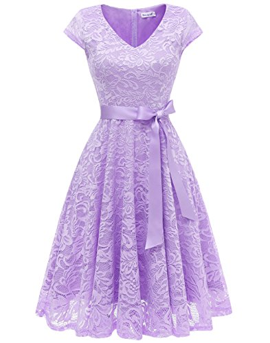 BeryLove Women's Floral Lace Cap Sleeve V-Neck Short Cocktail Formal Swing Dress BLP7006Lavender 2XL (Dress Floral Satin)