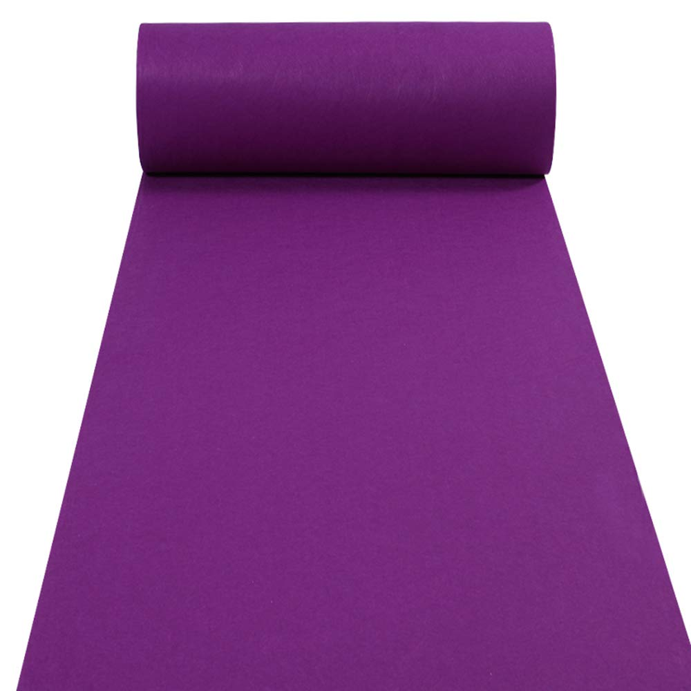 YADI Aisle Runners Wedding Rugs 2mm Purple Aisle Runner Carpet Rugs for Step and Repeat Display, Ceremony Parties and Events Indoor or Outdoor Decoration 24 Inch Wide x 50 feet Long