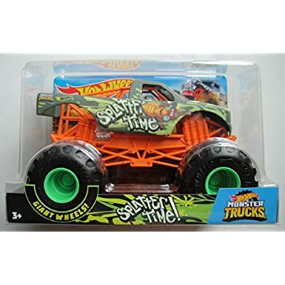Hot Wheels MONSTER JAM 1:24 SCALE, 2020 RELEASE GREEN SPLATTER TIME WITH GIANT WHEELS: Toys & Games