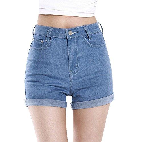 Minetome Damen Frauen Mädchen Sexy Hohe Taille Shorts Kurz Damen Jeans ( Hellblau EU M )