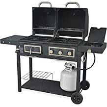 Durable Outdoor Barbeque U0026 Burger Gas/charcoal Grill Combo Comes With A  Chrome Plated Warming