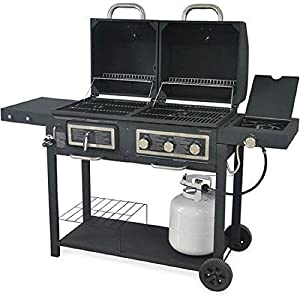 Durable-Outdoor-Barbeque-Burger-Gascharcoal-Grill-Combo-Comes-with-a-Chrome-Plated-Warming-Rack-and-a-Porcelain-Heat-Plate3-burner-Grill-with-Integrated-Ignition-and-Also-Has-a-Handy-Tool-Holders