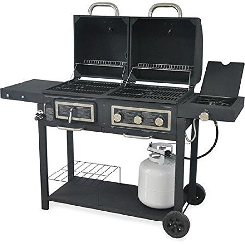 Durable Outdoor Barbeque & Burger Gas/charcoal Grill Combo Comes with a Chrome Plated Warming Rack and a Porcelain Heat Plate,3-burner Grill with Integrated Ignition and Also Has a Handy Tool Holders Charcoal Propane Bbq