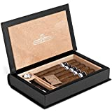 Dapper Effects Premium 5-10 Cigar Humidor Leather Book With Deluxe Hygrometer (Travel) Secret Hollow Book For Men or Women