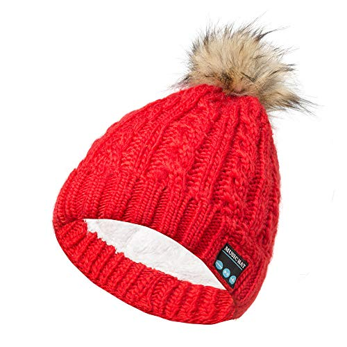 DEATU New Bluetooth Music Knitted Hat Stereo Headphone Men Women Unisex Winter Christmas Knit Novelty Hat(Red from DEATU