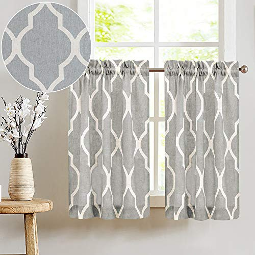Grey Linen Textured Kitchen Curtains Moroccan Tile Printed Tier Curtains Quatrefoil Cafe Curtains 36 inch Lattice Window Treatment Set 2 Panels (Cafe Gray Curtains)