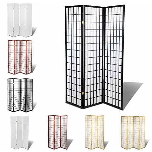 Magshion Furniture Oriental Room Divider Hardwood Shoji Screen, 3-Panel, Black Oriental Wood Divider