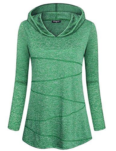 Flare Turtleneck (Miagooo Slim Fit T Shirts Women, Feminine Moisture Wicking Training Shirts Scoop Neck Long Sleeve Fashion Rib Knit Front Design Curve Flare Hem Comfy Sports Yoga Hoodies(2XL,Green))