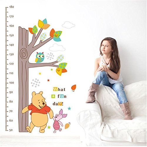 (ptk12 Winnie The Pooh Wall Stickers Children Height Measure Growth Chart Tree Kids Bedroom Home Decor Mural Decal)