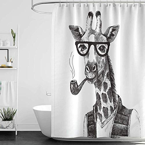 homecoco Shower Curtains Long Quirky Decor,Giraffe Smoking Pipe