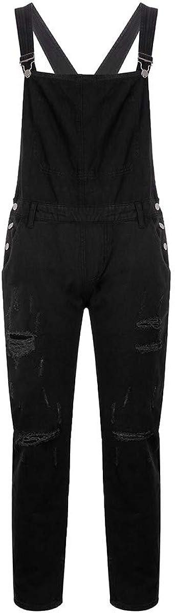 WGNNAA Herren Latz Jeans Overall Schwarz Lange Hose Jumpsuit