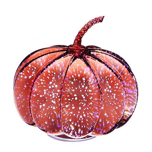 Evergreen Stargazing 10-inch Rose Gold Starburst LED Glass Pumpkin Statue (Design White Gold Etched)