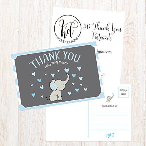 50 4x6 Elephant Boy Baby Shower Thank You Postcards Bulk, Beautiful Modern Cute Boho Blue Blank Thanks Note Card Stationery Appreciation Set Photo #5