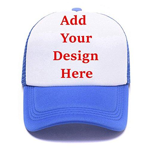 Personalized Snapback Trucker Hats Custom Unisex Mesh Outdoors Baseball Caps Blue ()