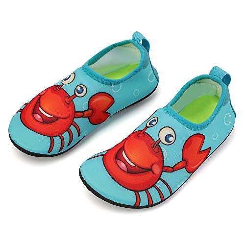 hiitave Kids Water Shoes Non-Slip Quick Dry Barefoot Beach Aqua Swim Pool Socks for Boys & Girls Toddler Blue Reef/Crab 7-8 M US ()