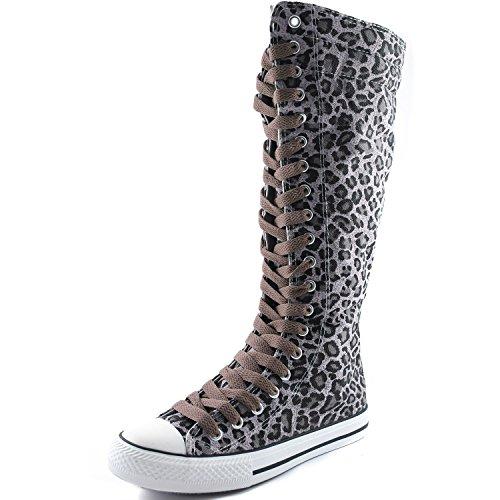 Dailyshoes Toile Femme Mi-mollet Bottes Hautes Casual Sneaker Punk Plat, Bottes Léopard, Dentelle Marron Clair