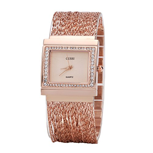 Ladies Square Crystal Bracelet Dress Wrist Watch for Women - Female Rose Gold ()