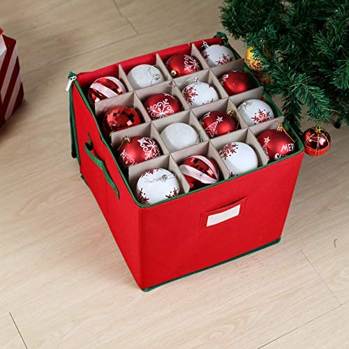 Christmas Ornament Storage Box with Adjustable Dividers, Hold Up to 64 Ornaments Balls & Christmas Accessories, Ornament Storage Container with Zippered Closure, Two Handles & Card Slot (Red)