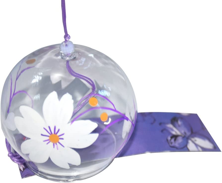 Japanese Furin Wind Chimes Handmade Glass Birthday Valentine's Day Wedding Anniversary Gift Home Spa Kitchen Office Decor White Saruka