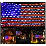 PUHONG American Flag 420 LED String Lights Super Bright LEDs, Outdoor Lights Waterproof Hanging Ornaments for Independence Day,Memorial Day, Festival Decoration (Red,Blue,White)