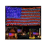 PUHONG American Flag 420 LED String Lights Large USA Flag Outdoor Lights Waterproof Hanging Ornaments for Independence Day,Memorial Day, Festival Decoration (Red,Blue,White)