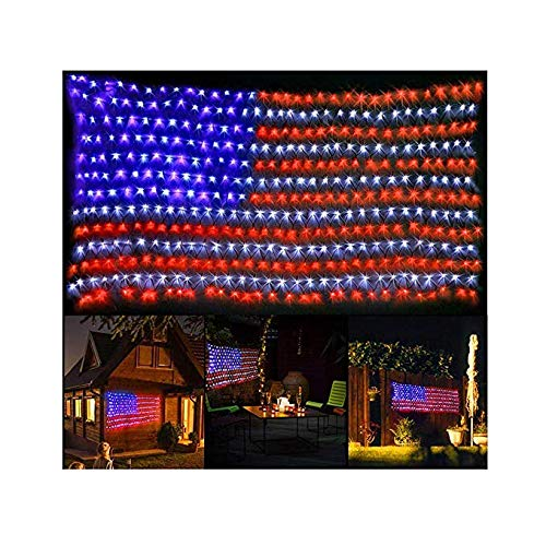 PUHONG American Flag 420 LED String Lights Large USA Flag Outdoor Lights Waterproof Hanging Ornaments for Independence Day,Memorial Day, Festival Decoration (Red,Blue,White) ()