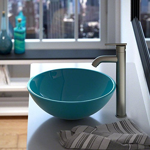 601 Turquoise Coloured Glass Vessel Sink by MR Direct (Image #2)