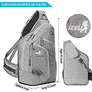 Plus Oversized Sling Bag for Men Women,Extra Durable Rope Strap Chest Backpack for Outdoor 28L