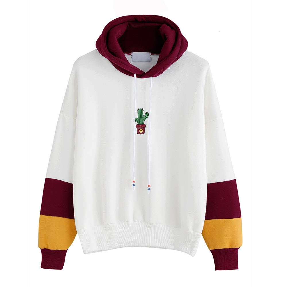 Hoodie Damen Langarm Kaktus Print Hoodie Sweatshirt Sweat Tops Bluse Teenage M/ädchen Frauen Pullover MYMYG Einfach Basic Coat Outwear Streetwear