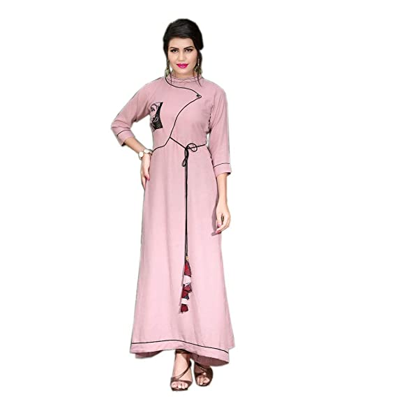 Pink Full Stitched Gown Kurti For Women Latest Design Party Wear