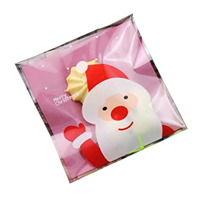 Tangbasi 50pcs Self Adhesive Christmas Cookie Candy Package Santa Claus Cellophane Gift Bags